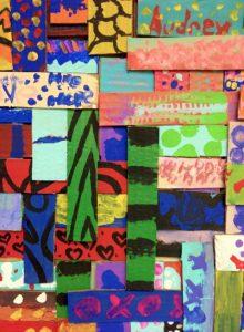 Children's artwrok painted weaving project